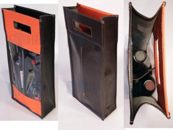Bolsa para botella de vino con grabado y ventana