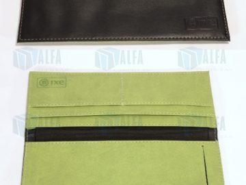 Porta cheques bancario a dos colores con grabado de logotipo