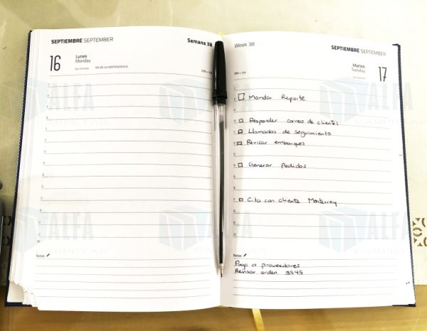 Agenda diaria de escritorio empastada interior impreso dia a dia