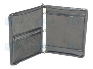 Portafolio con cierre y argollas para hojas carta oficio