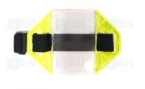 Portagafete de brazo reflejante con cinta elastica de seguridad