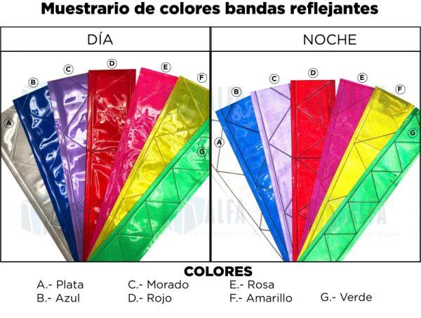 Muestrario bandas Reflejante para gafetes de brazo