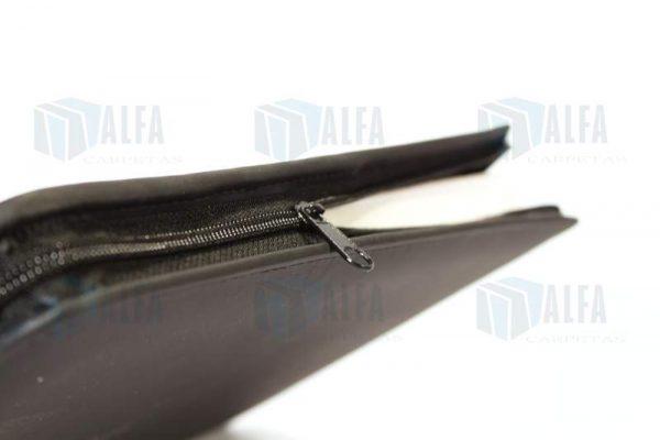 folder con cierre cosido piel sintetica