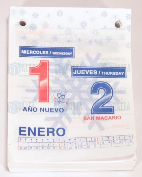 calendario dia por dia papel
