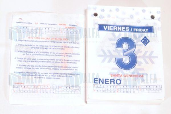 calendario dia impreso reverso