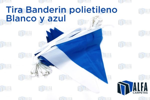 Tira Banderin polietileno Blanco y azul