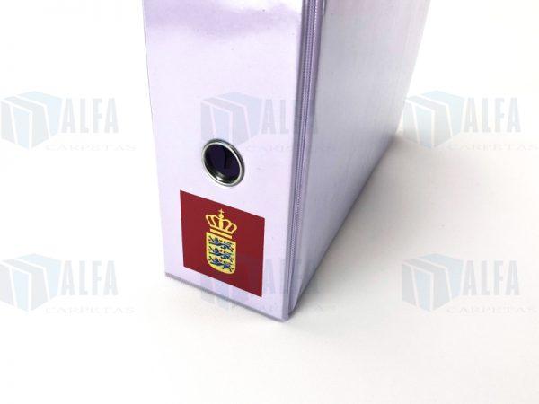 Ojillo en lomo sobre carpeta registrador plástico Vinil